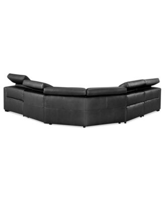 Awesome Nicolo 5 Piece Leather Reclining Sectional Sofa (2 Power Recliner Chairs,  Power Recliner