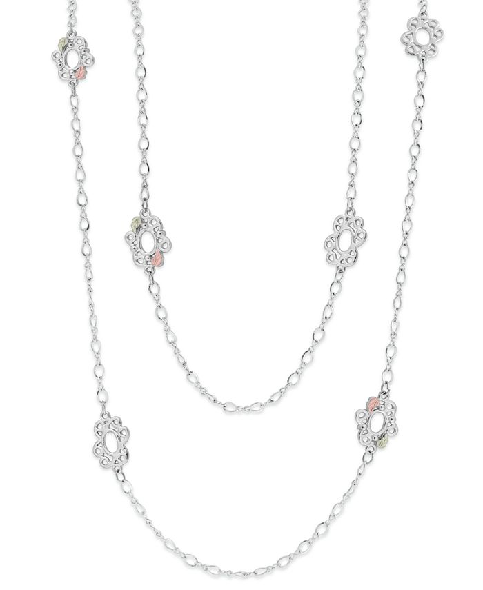 Black Hills Gold - Long Necklace in Sterling Silver with 12K Rose and Green Gold