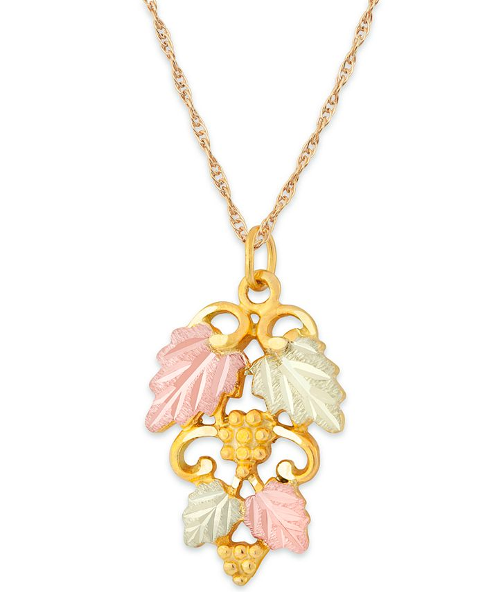 Black Hills Gold - Grape and Leaf Pendant in 10k Yellow Gold with 12k Rose and Green Gold