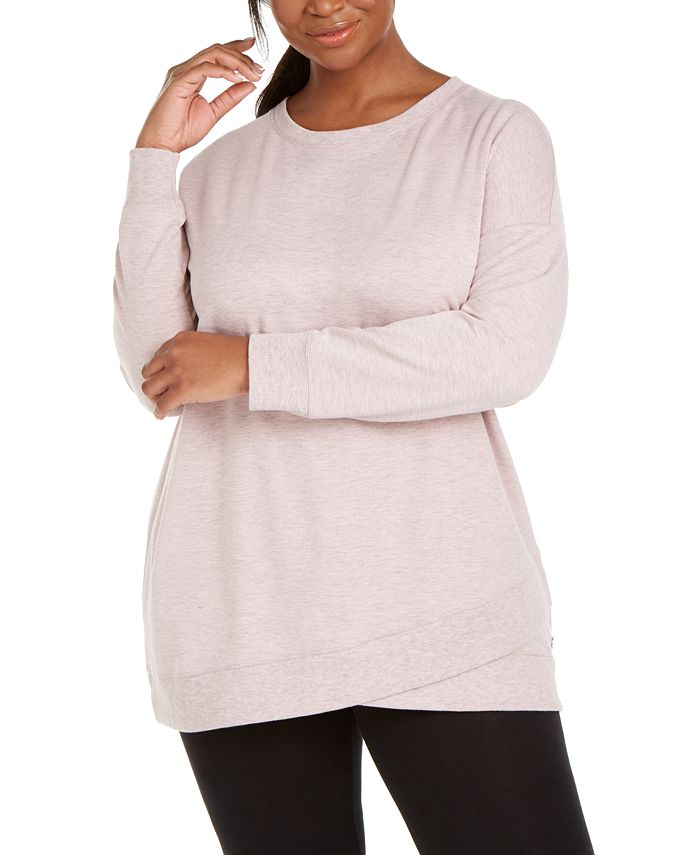 Ideology - Plus Size Crossover-Hem Sweatshirt