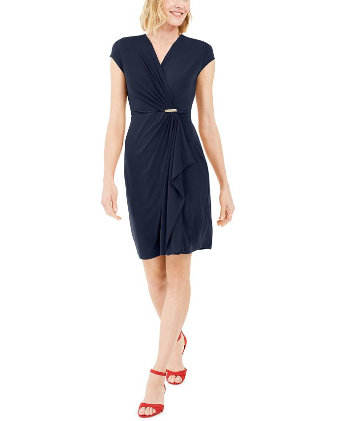 Charter Club - Knit Cap-Sleeve Crossover Dress