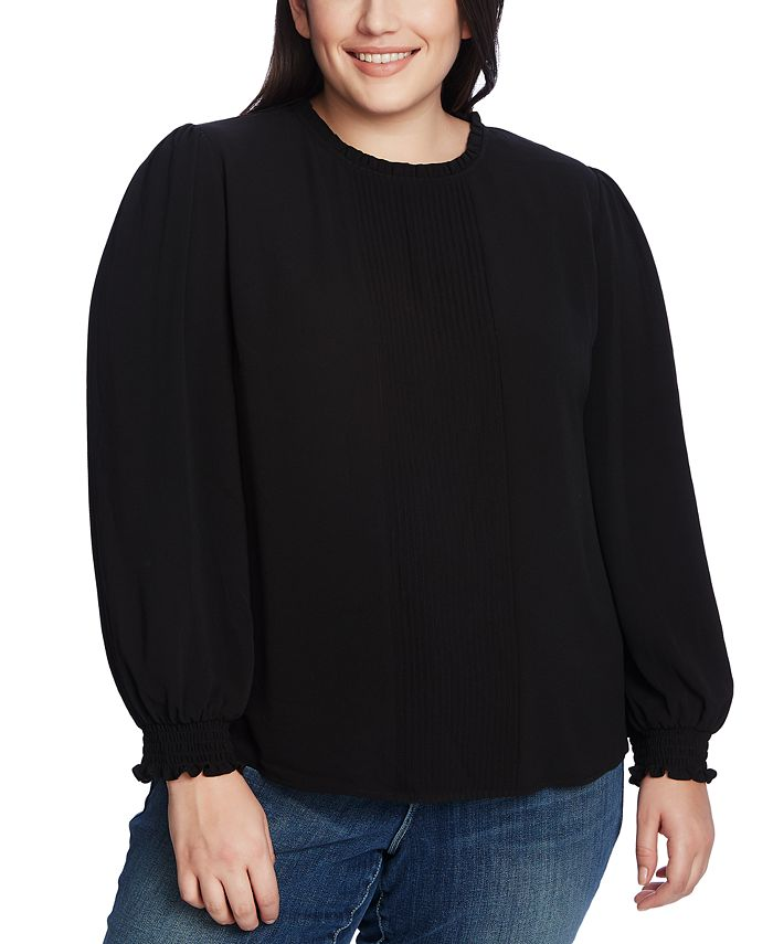 CeCe - Plus Size Ruffled Pintucked Top