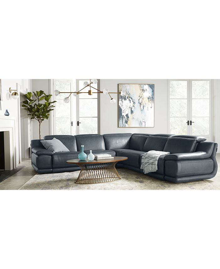 "Furniture - Daisley 6-Pc. Leather ""L"" Shaped Sectional Sofa with 2 Power Recliners"