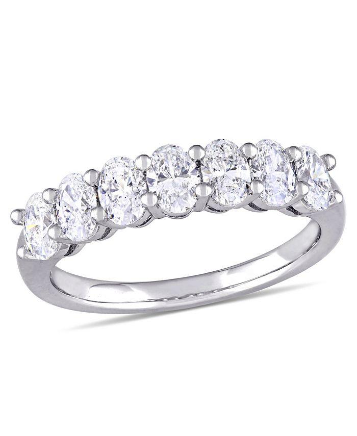 Macy's - Oval Cut Diamond (1 1/3 ct. t.w.) Semi-Eternity Anniversary Ring in 14k White Gold