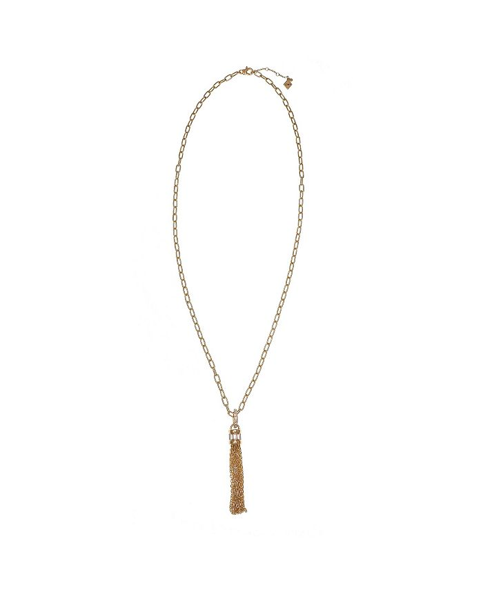 Christian Siriano New York - Gold Tone Chunky Chain Tassel Necklace with Crystal Stone Accents