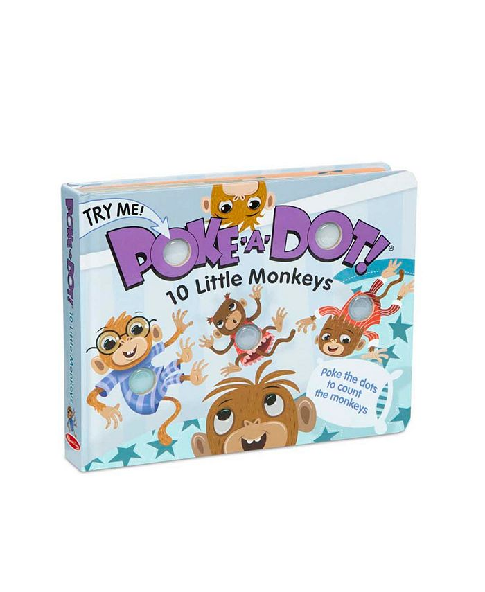 Melissa and Doug - Children's Book - Poke-a-Dot: 10 Little Monkeys Board Book with Buttons to Pop