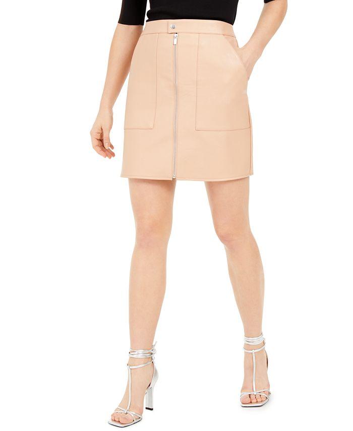 Bar III - Faux-Leather Zip-Front Mini Skirt