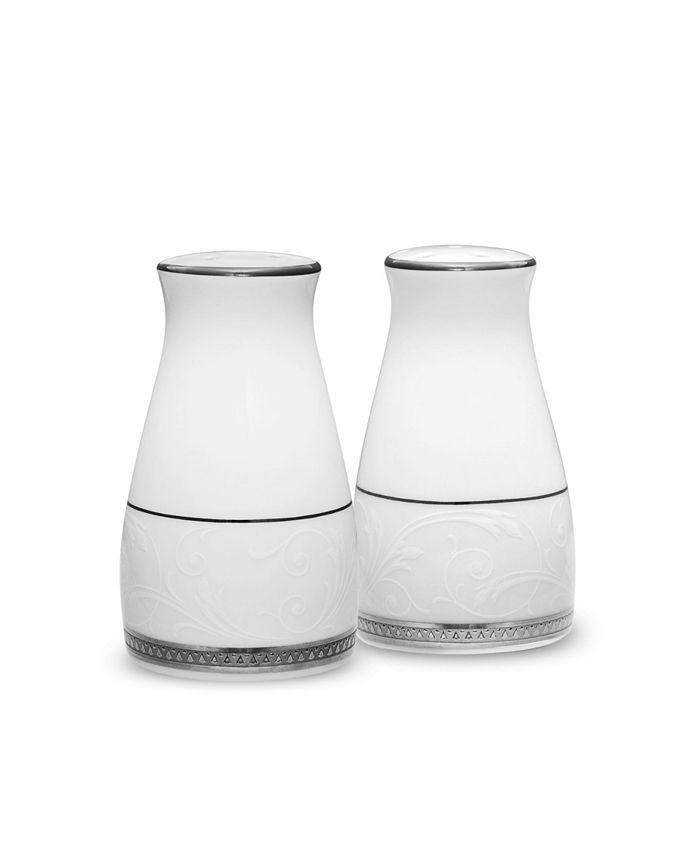 """Noritake - Regina Platinum Salt & Pepper, 3-1/4"""""""