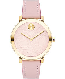 Movado Women's Swiss Bold Pink Leather Strap Watch 34mm