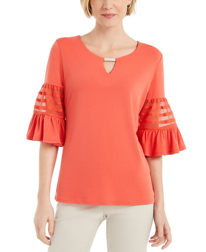 JM Collection - Keyhole Bell-Sleeve Top