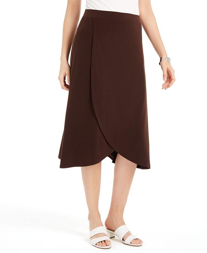 JM Collection - Solid Tulip-Hem Skirt
