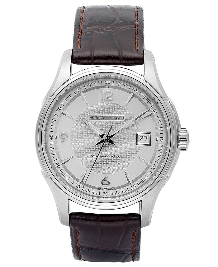 Hamilton - Watch, Men's Swiss Automatic Jazzmaster Viewmatic Brown Leather Strap 40mm H32515555