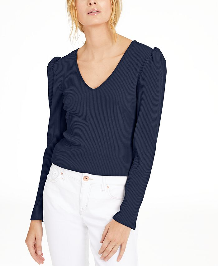 INC International Concepts - Ribbed Puff-Sleeve Top