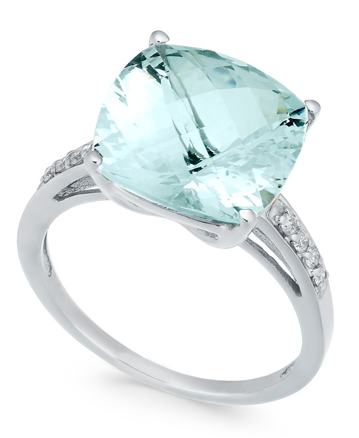 Macy's - Aquamarine (6-3/8 ct. t.w.) & Diamond (1/8 ct. t.w.) in Sterling Silver