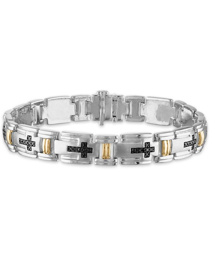 "Macy's Men's 3/4 Carat Black Diamond Link 8 1/2"" Bracelet in Sterling Silver and 10k Yellow Gold & Reviews - Bracelets - Jewelry & Watches - Macy's"