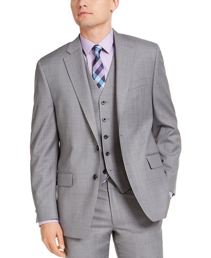 Michael Kors - Men's Classic-Fit Airsoft Stretch Gray Sharkskin Suit Jacket