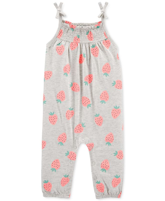 Carter's Baby Girls Strawberry-Print Cotton Jumpsuit