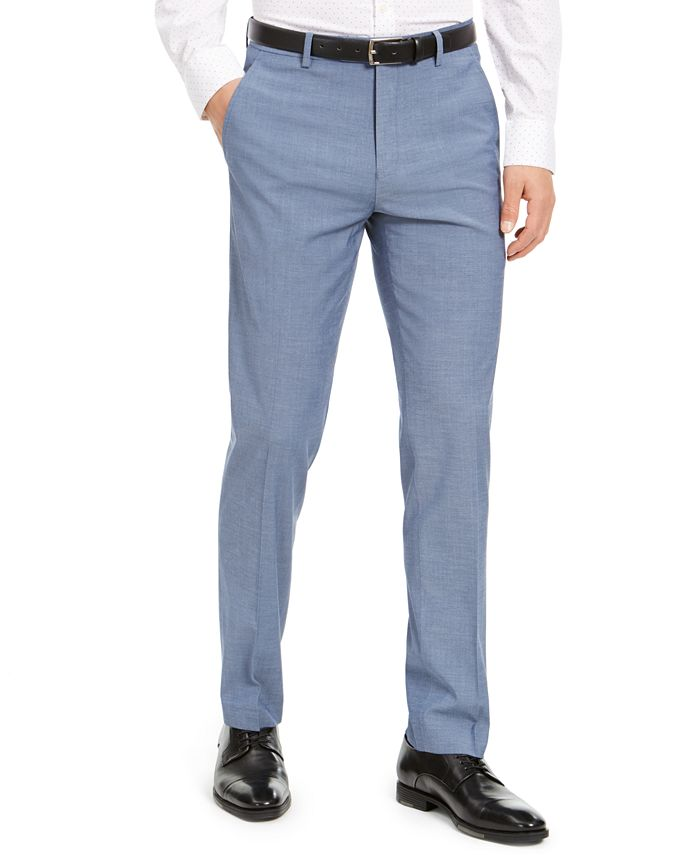 Alfani - Men's Slim-Fit Stretch Light Gray Solid Suit Pants