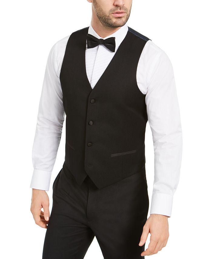 Alfani - Men's Slim-Fit Stretch Black Twill Suit Vest