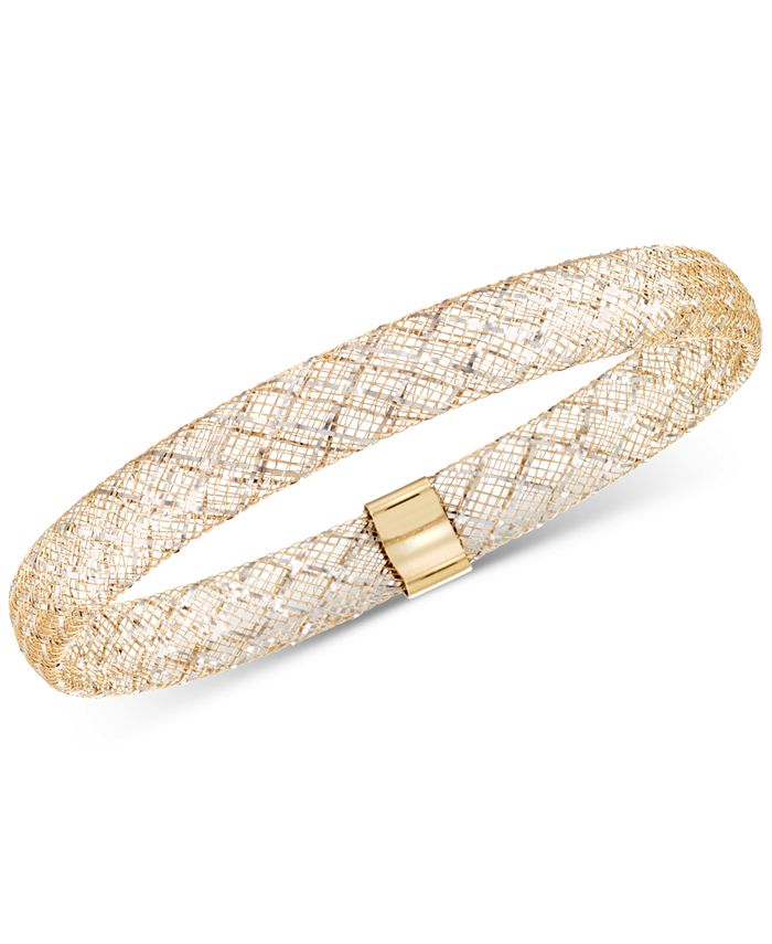Italian Gold - Two-Tone Wire Stretch Bangle Bracelet in 14k Gold & White Gold