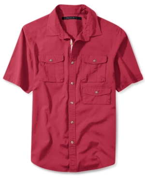Sean John Shirt Solid Outdoor Short Sleeve Shirt