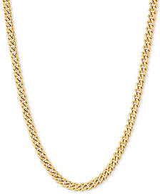 "Italian Gold Miami Cuban Link 18"" Chain Necklace (3mm) in 14k Gold"