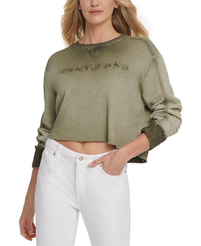 DKNY Jeans - Cropped Logo-Print Cotton Top