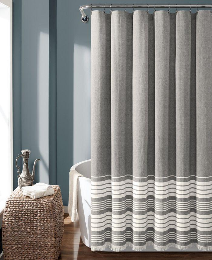 "Lush Décor - Nantucket Yarn Dyed Cotton 72"" x 72"" Shower Curtain"