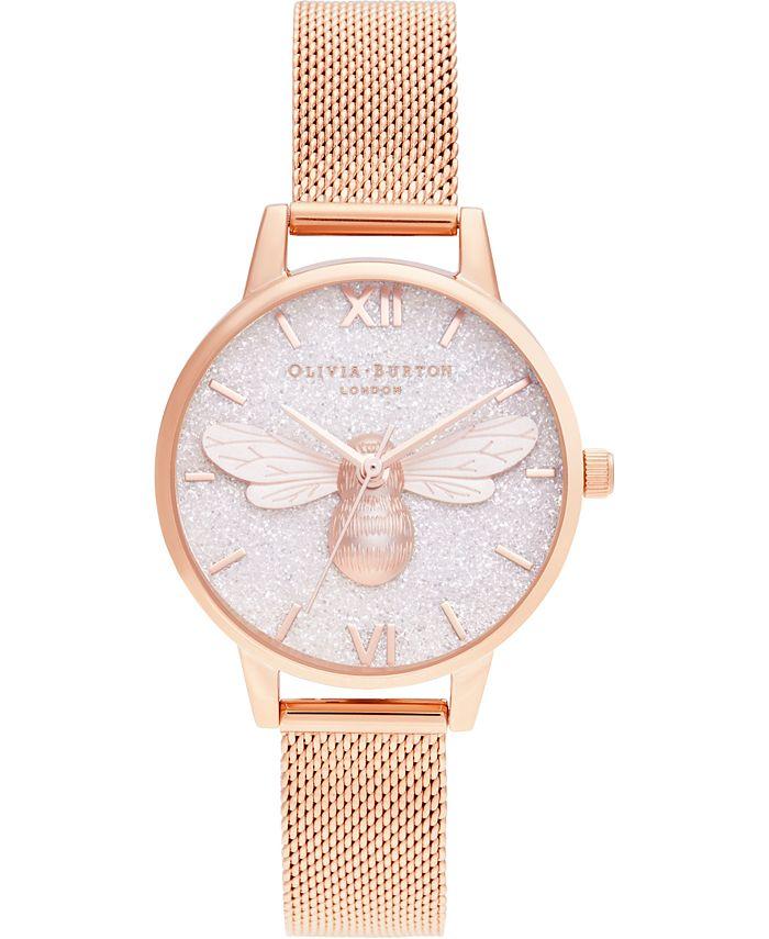Olivia Burton - Women's Lucky Bee Rose Gold-Tone Stainless Steel Mesh Bracelet Watch 30mm