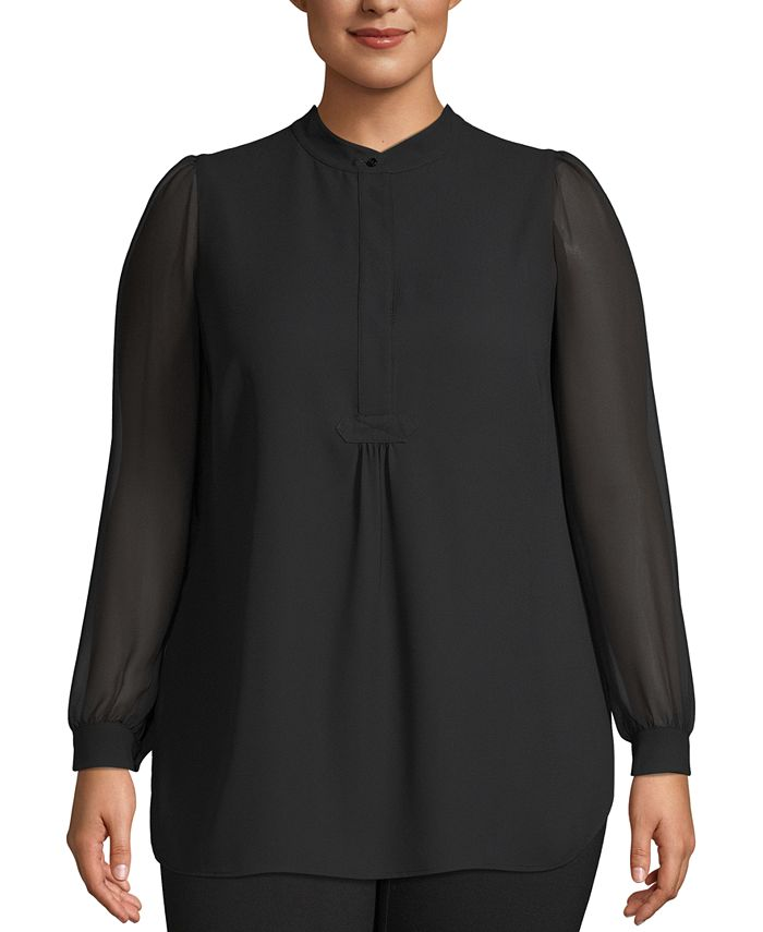 Anne Klein - Plus Size Sheer-Sleeve Tunic