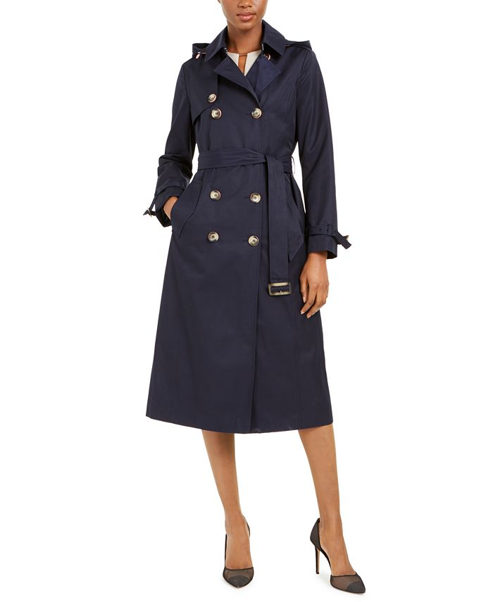 Tahari - Double-Breasted Hooded Raincoat