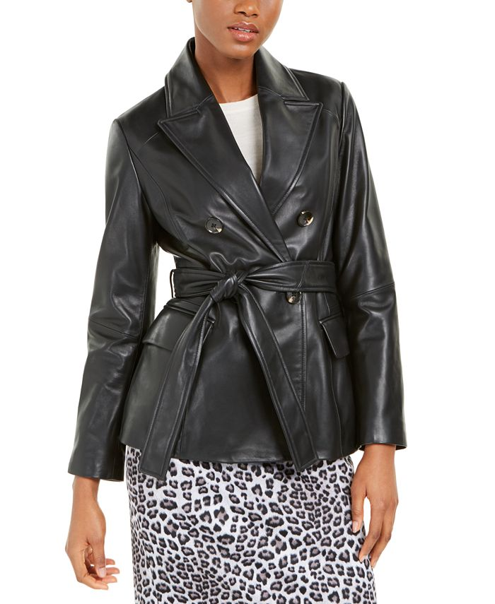 Tahari - Leather Belted Jacket