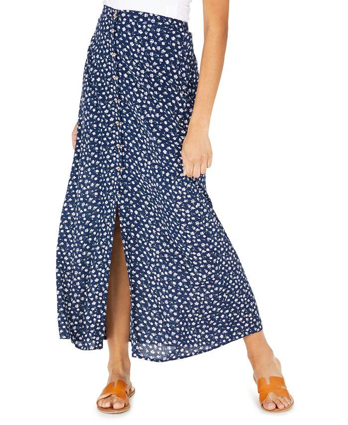 Be Bop - Juniors' Floral-Print Button-Front Maxi Skirt