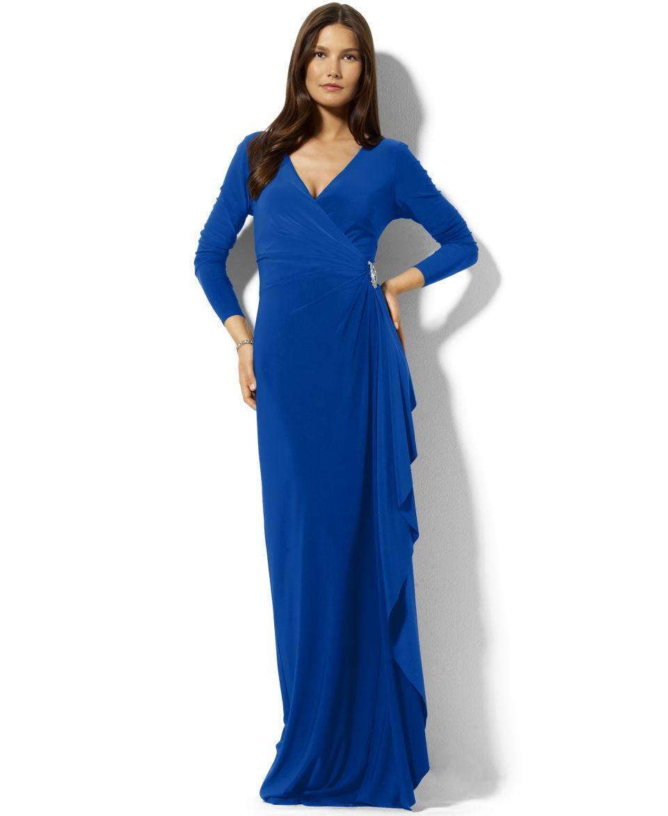 Lauren Ralph Lauren Petite Split Sleeve Jersey Gown   Dresses   Women