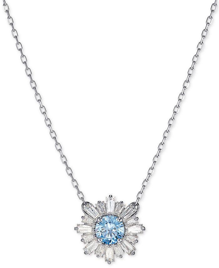 "Swarovski - Silver-Tone Crystal Flower Pendant Necklace, 14-7/8"" + 2"" extender"