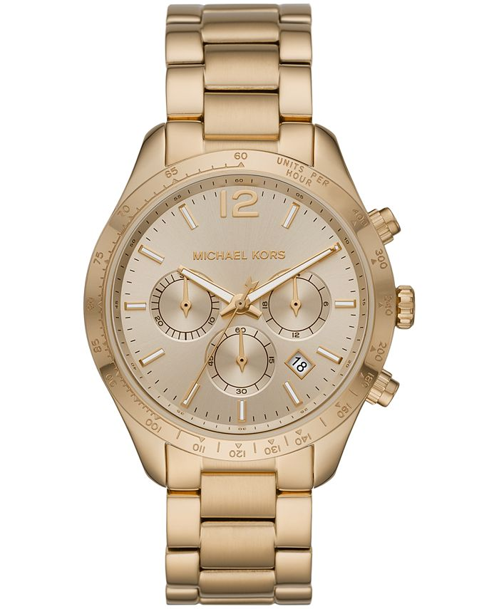 Michael Kors - Women's Chronograph Layton Gold-Tone Stainless Steel Bracelet Watch 42mm
