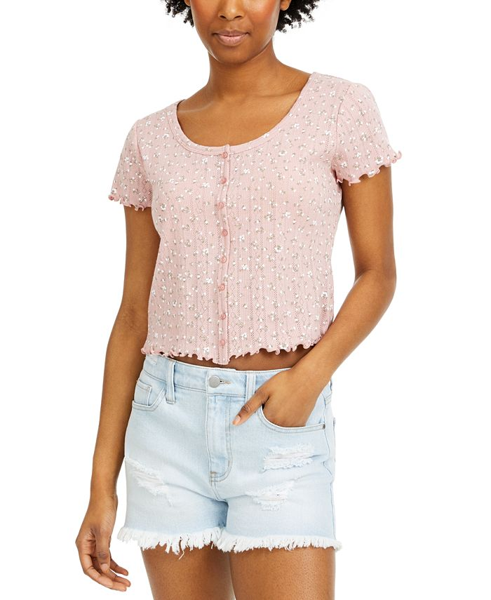 Hippie Rose - Juniors' Cropped Floral-Print Top