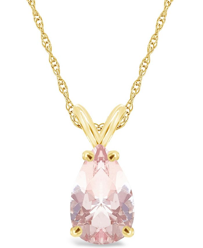 Macy's - Morganite (2-5/8 ct. t.w.) Pendant Necklace in 14K Yellow Gold
