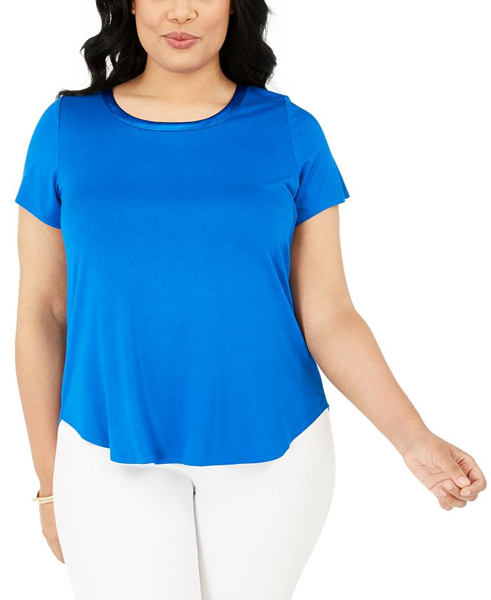 Alfani - Plus Size Satin-Trimmed T-Shirt