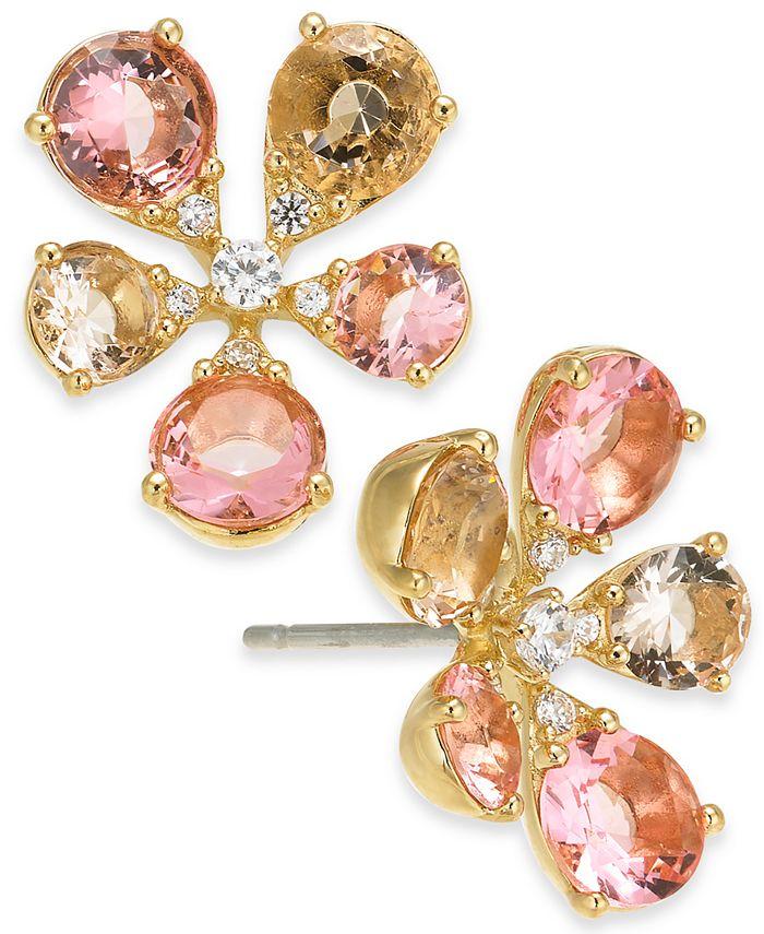 Eliot Danori - Cubic Zirconia Flower Stud Earrings