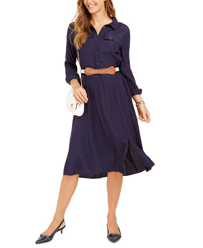 Charter Club - Jacquard Dot Button-Front Belted Dress