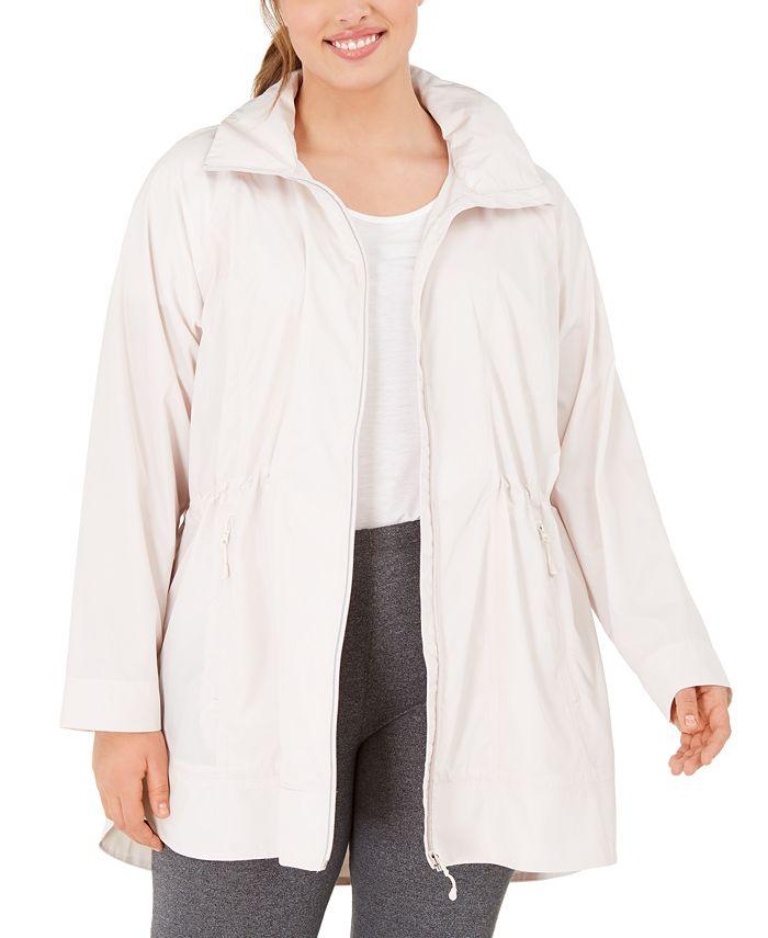 Ideology - Plus Size Hooded Longline Rain Jacket