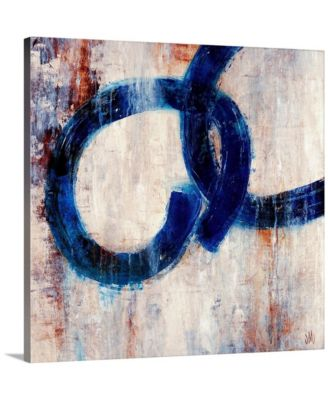 "Lapis Rings I' Framed Canvas Wall Art, 36"" x 36"""