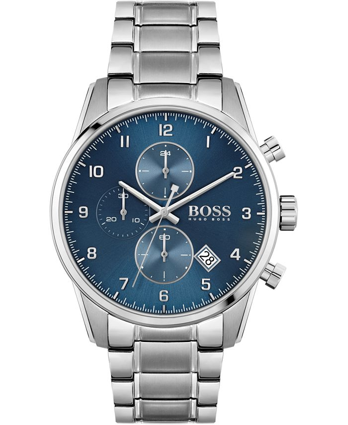 BOSS - Men's Chronograph Skymaster Stainless Steel Bracelet Watch 44mm