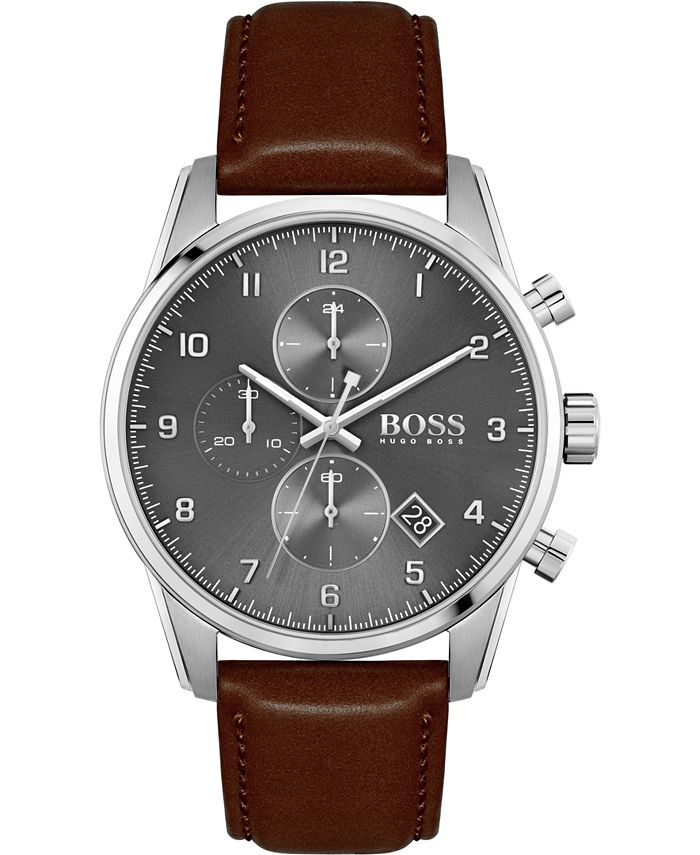 BOSS - Men's Chronograph Skymaster Brown Leather Strap Watch 44mm