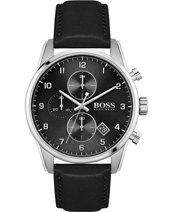 BOSS - Men's Chronograph Skymaster Black Leather Strap Watch 44mm