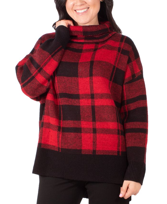 NY Collection - Plaid Turtleneck Sweater