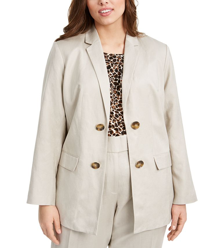 Calvin Klein - Plus Size Double-Breasted Open-Front Jacket