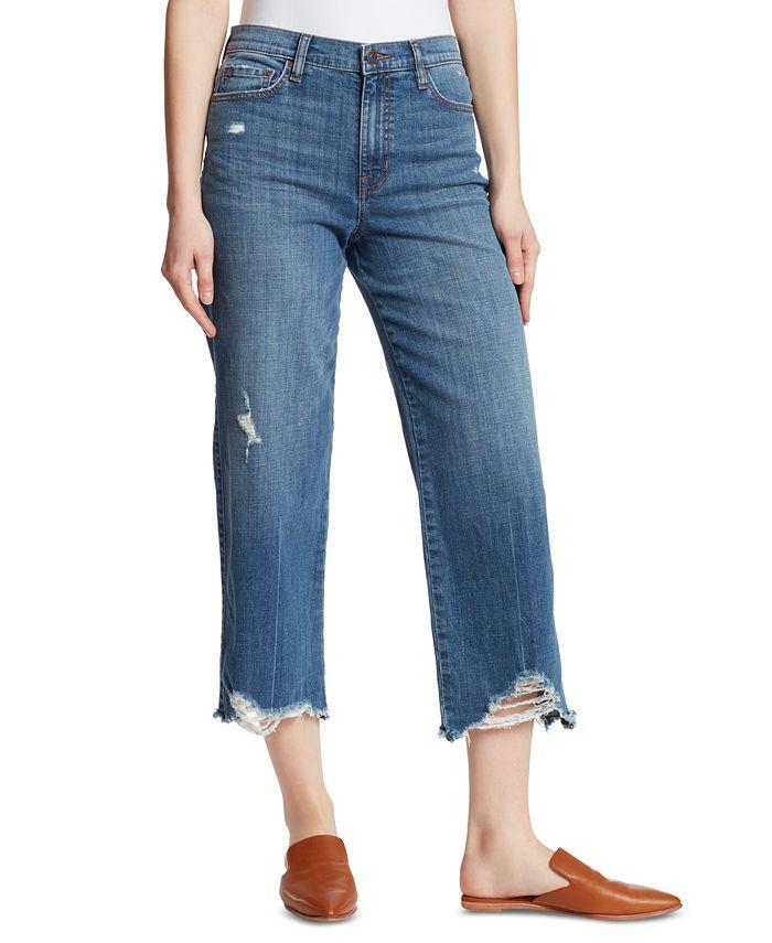 Ella Moss - Destroyed-Hem Wide-Leg Jeans