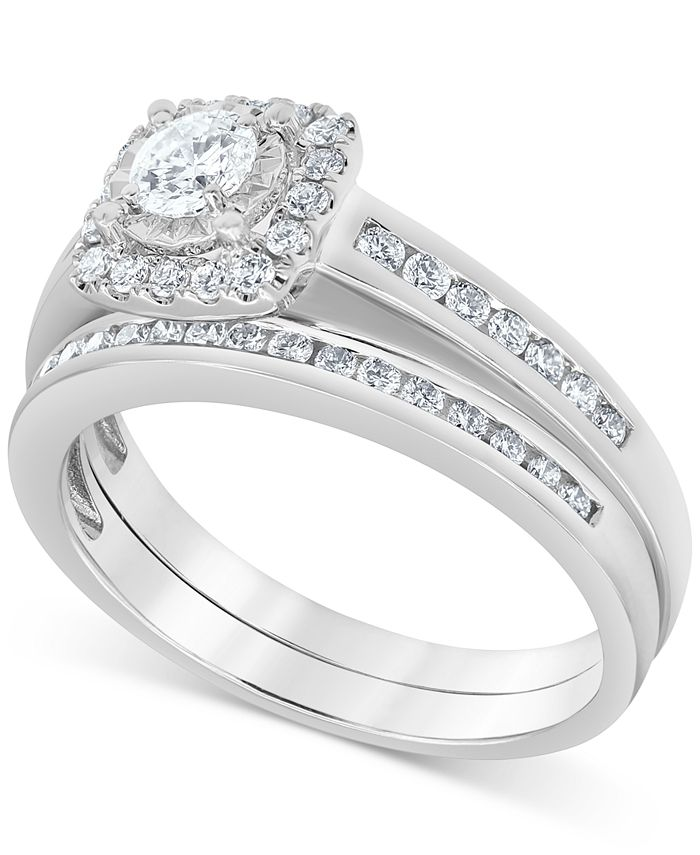 Macy's - Diamond Halo Bridal Set (3/4 ct. t.w.) in 14k White Gold